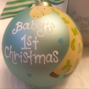 COTON COLORS Baby's 1st Christmas glass ornament